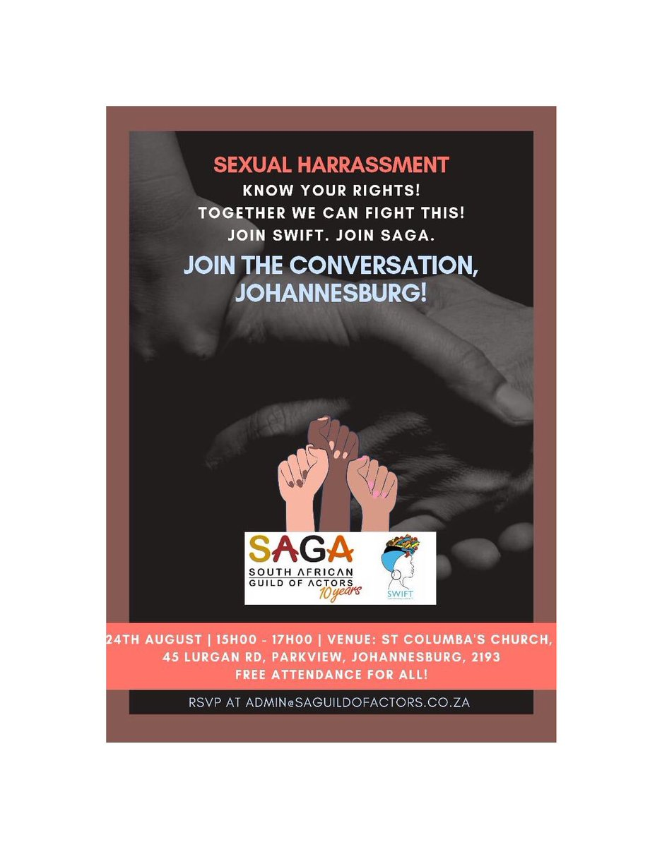 JHB and CT, Do join us tomorrow for this heartfelt talk... rsvp now at admin@saguildofactors.co.za to secure your seat. #sexualharassment #iamctor #whatsyoursaga