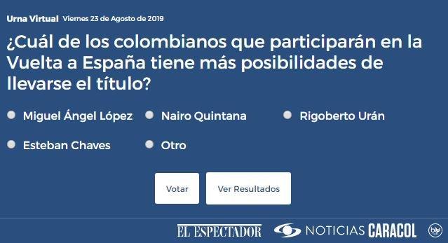 ¿Cuál de los colombianos que participarán en la Vuelta a España tiene más posibilidades de llevarse el título? Vote en la #UrnaVirtual de @NoticiasCaracol #VamosEscarabajos -> http://bit.ly/2ttw86k