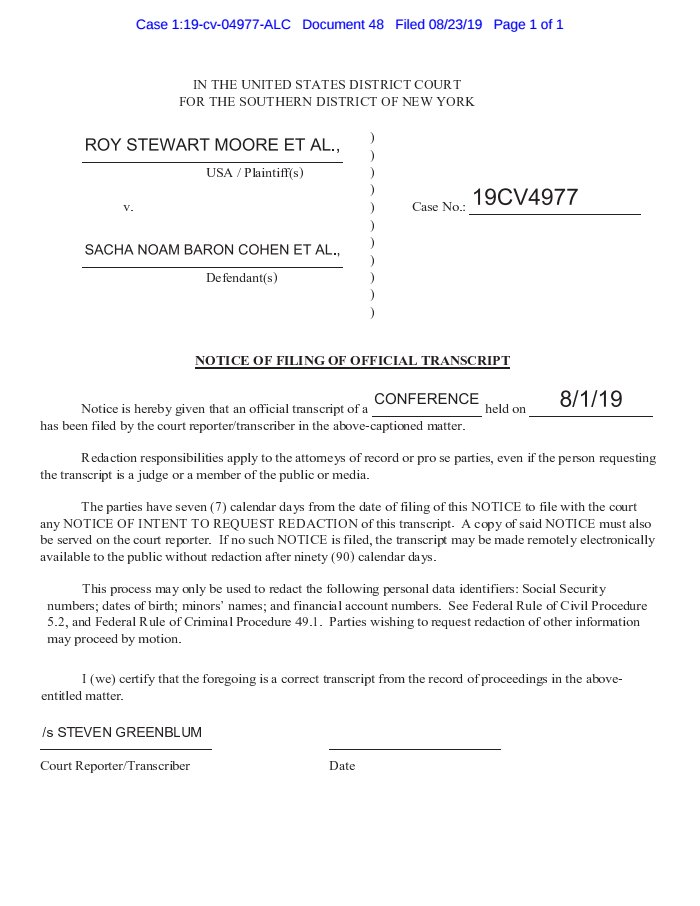 RT @big_cases: New filing in Roy Moore v. Sacha Baron Cohen: Notice of Filing Transcript  https://t.co/kieFKfxeEN https://t.co/za3aiI7TL5