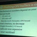 Image for the Tweet beginning: Flushing CPU buffers is slow.