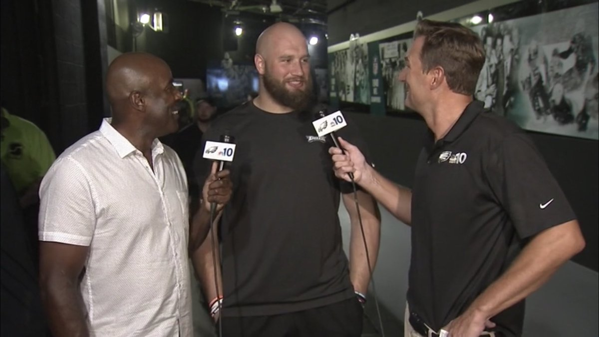 """I'll be there"" Lane Johnson joined us on our Eagles postgame show last night and told us he will be ready for the season opener He said he and Carson Wentz ""will be fresh"" #Eagles"
