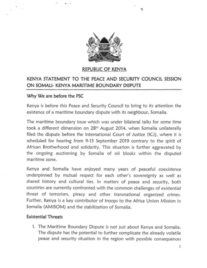 Kenya in new diplomatic attempt to avoid the principal judicial organ of the World @CIJ_ICJ settle the maritime dispute w/ Somalia. In this letter purportedly by Kenya to the AU, the dispute is about regional security, war against Shabaab and presence of its troops in AMISOM. 1/2 <br>http://pic.twitter.com/rJexxocrI6