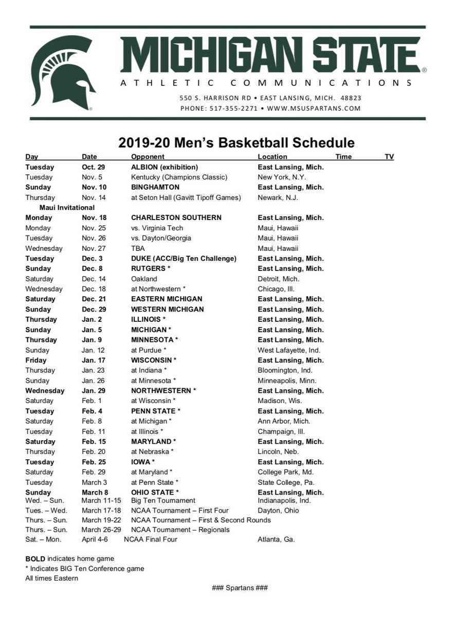 Michigan State Basketball On Twitter 2019 20 Schedule