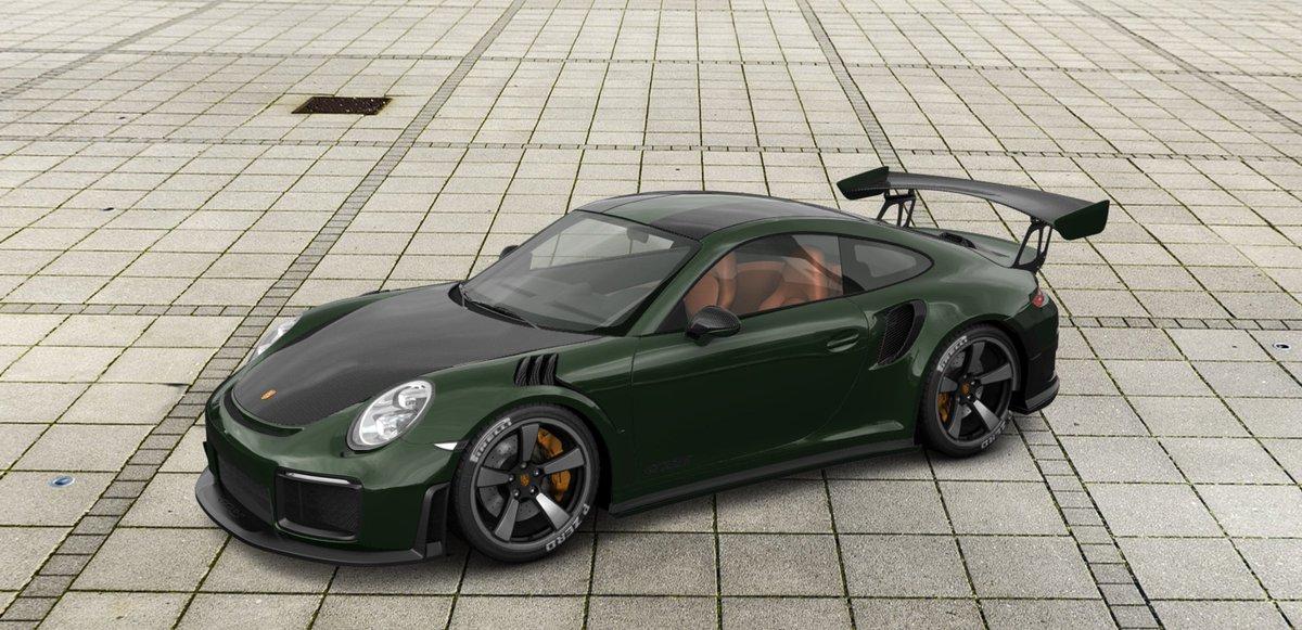 """test Twitter Media - Ik heb toch maar even een nieuwe #Porsche GT2 RS geknutseld... In het donkergroen, Carbon delen, 20"""" velgen, oranje calipers en oranje interieur. 🤩 https://t.co/Bo2f8lfaaB"""