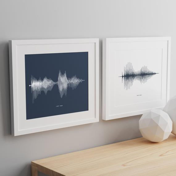 Pair of personalised sound wave print pdf files your voice song art anniversary wedding fathers mothers day  any message - any size wav007 by JessicaMichaelPrints https://t.co/dGIhhEHNkN