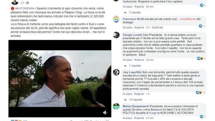 Sul profilo Fb del governatore veneto raffica di a...