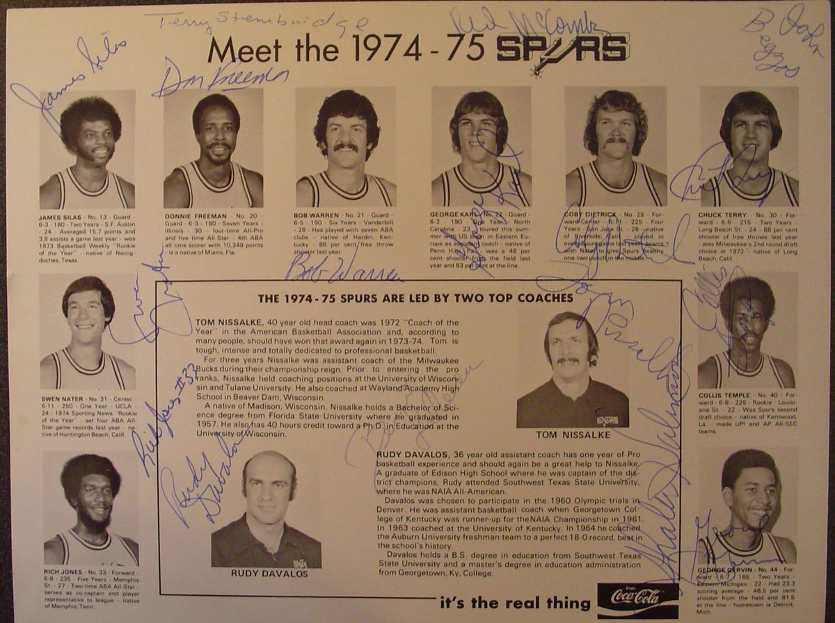I got this Tom Nissalke autograph (along with all other Spurs) at the Hemisfair Arena in 1974.  RIP #TomNissalke   #GoSpursGo <br>http://pic.twitter.com/6Kz3MLoQn1