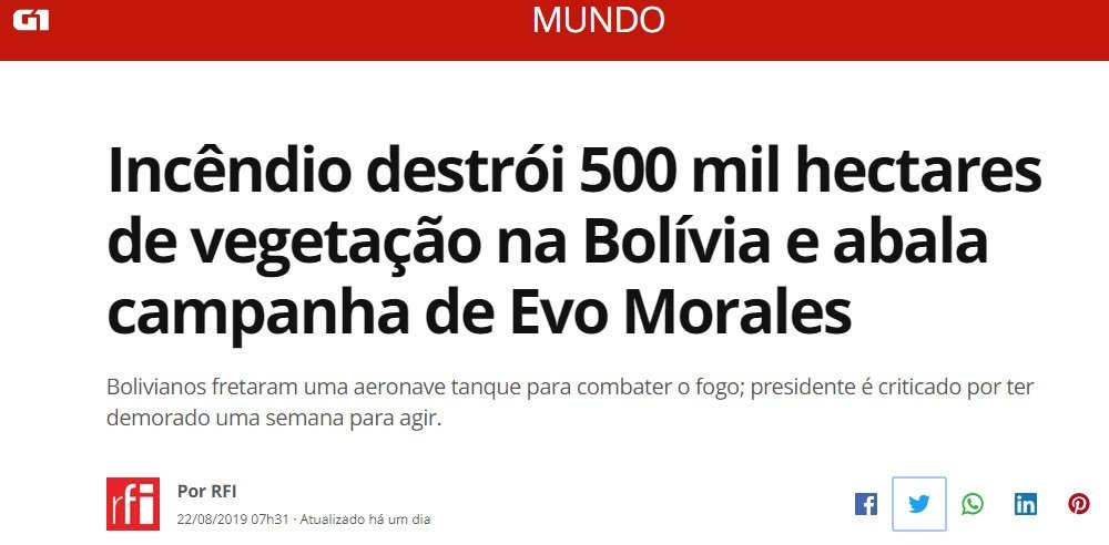 "Brazil is the real culprit? Yeah right!  ""Fire destroys 500 thousand hectares of vegetation in Bolivia"" #MacronLies  Why the international media / celebrities / people like Macron and everyone in between are not talking about Bolivia? The situation there is really bad.<br>http://pic.twitter.com/pYqQy0dCYm"