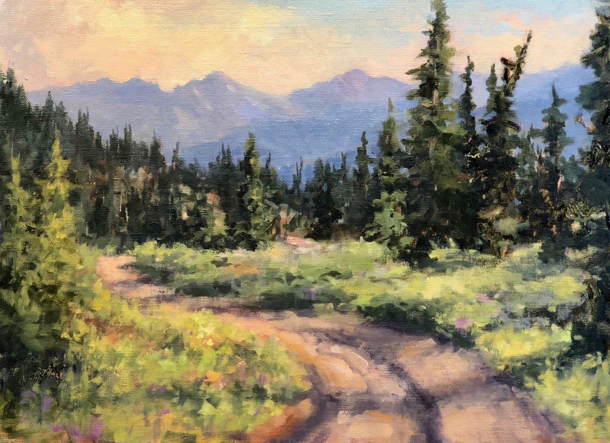 "#picoftheday ~ Cheryl St. John ""Rough Road"" 12"" x 16"" Oil #mountains #landscape #road #coloradomountains #painting"
