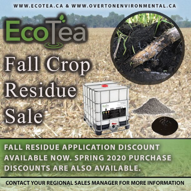 EcoTea™ Residue Management Fall Sale!! EcoTea™ Crop Residue Application in season discount and Spring 2020 discounts available. Contact your regional EcoTea™ Sales Manager for more information. #ecotea #overtonenvironmental #fallsale