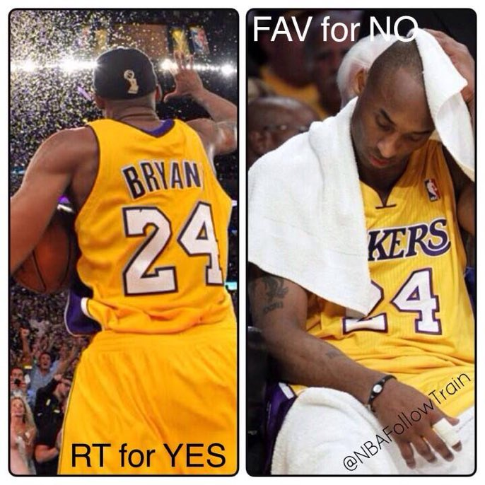 RT @UncleDrewGB: Is Kobe Bryant a top 5 all time player? RT for YES LIKE for NO https://t.co/xfHHUGu9rT