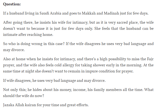My husband pushes me for intimacy while we are visiting Makkah and Madina  Read the full answer :  http:// fatwa.ca/social/my-husb and-pushes-me-for-intimacy-while-we-are-visiting-makkah-and-madina/   … <br>http://pic.twitter.com/eTDtWNSehk