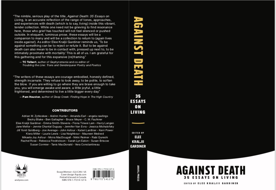 "After a stem cell transplant in 2013, I started to write an essay while on morphine. This piece is now included in Against Death, a collection of #CNF by 35 writers, including editor @eleekg, exploring how humans respond when we are ""intimately pressed up against mortality.""<br>http://pic.twitter.com/OKJLiqPsMS"