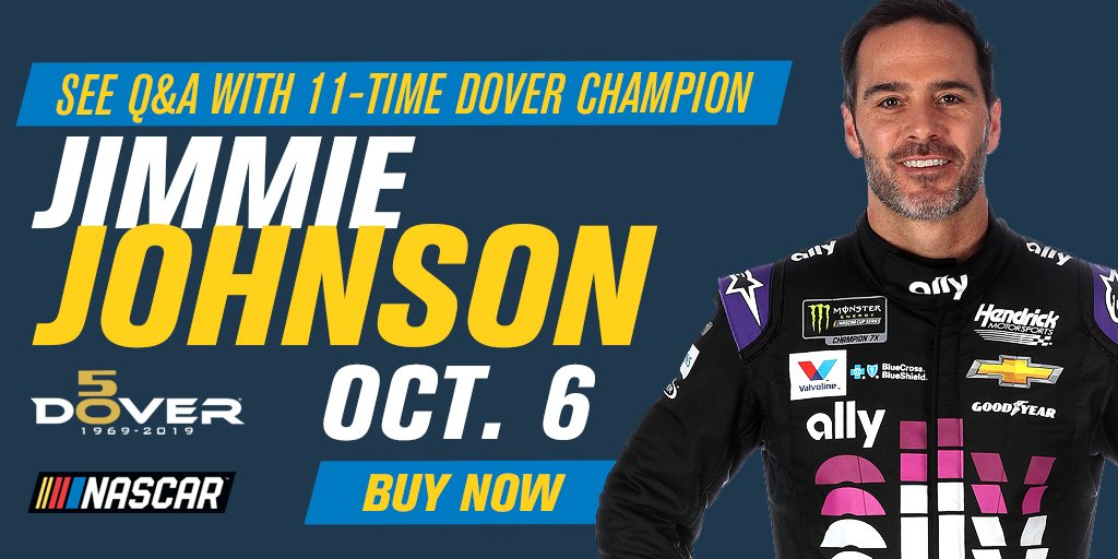 The @JimmieJohnson ticket package returns this fall! Get tickets to our 100th Cup race & an on-track Q&A! 1 adult & 1 kid ticket for just $60 total! #Dover50 #NASCAR  https://t.co/IJnGmR6eU4 https://t.co/F2deyatHtj