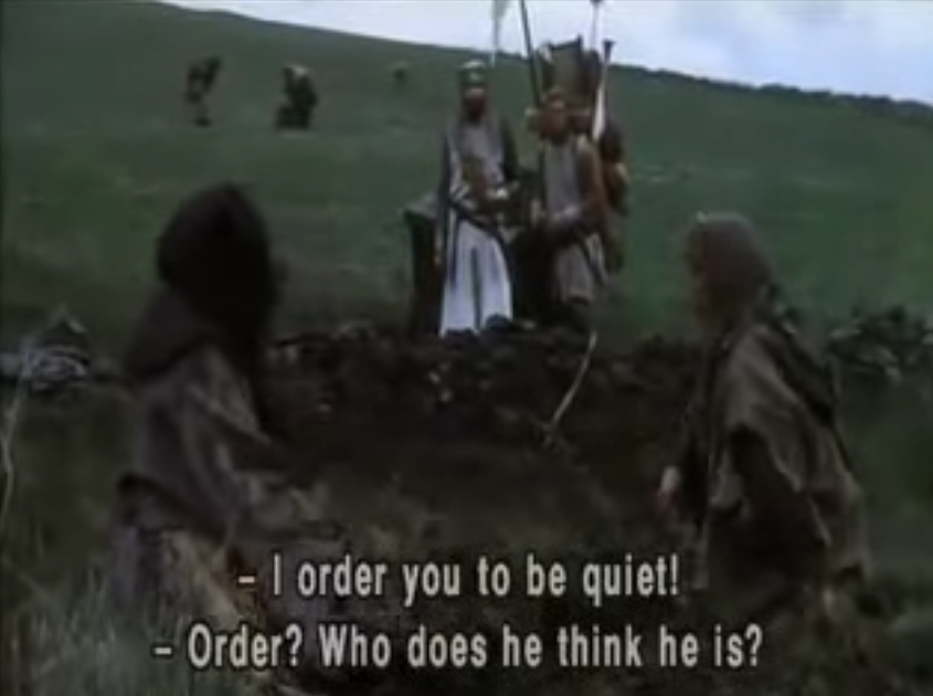 "The Moron Messiah ""orders"" U.S. companies not to buy from China... reminds me of this scene from Monty Python and the Holy Grail: #IHerebyOrder #Trumpenfuhrer <br>http://pic.twitter.com/qecpofKpPV"