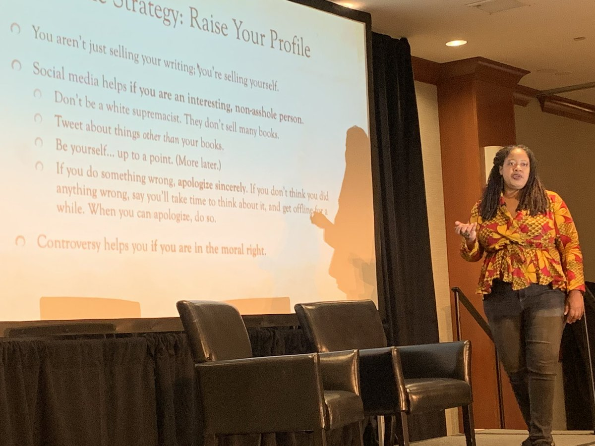 "Your battle strategy: ""social media helps if you are an interesting, non-asshole person."" @nkjemisin #WDC19 <br>http://pic.twitter.com/hyfg5nkkjd"