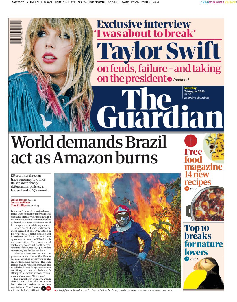 📰 GUARDIAN: World demands Brazil act as Amazon burns #tomorrowspaperstoday