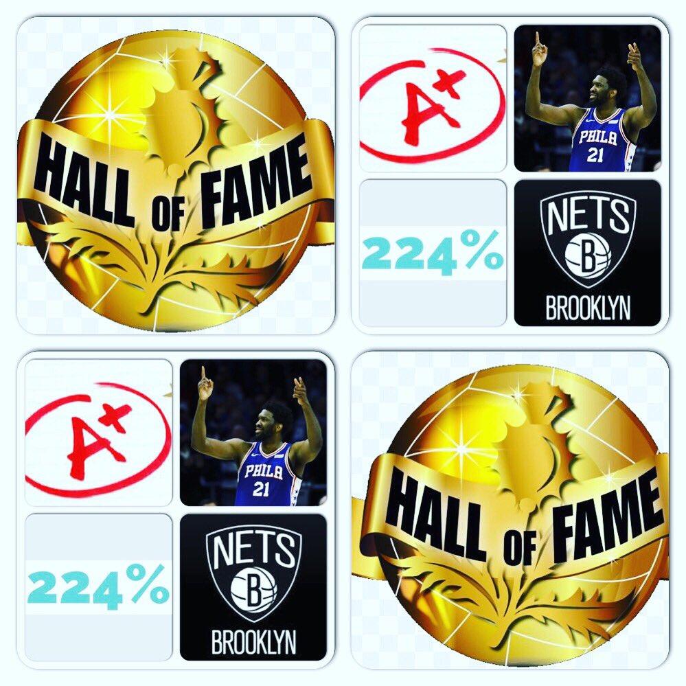 #NBA Playoffs  Date: 4/20/19 Score: #76ers 112 - #Nets 108  Tm: #Philadelphia76ers Pl: #JoelEmbiid  Pos: C  Ht: 7'0  Wt: 250 lbs  College: #Kansas  PGG: 224% = A+  Vs: #BrooklynNets @NBA  #Basketball (Seeking Sponsorship) (Seeking Sponsorship/YOUR AD HERE) - Marlawn https://t.co/y0bTeISOQw