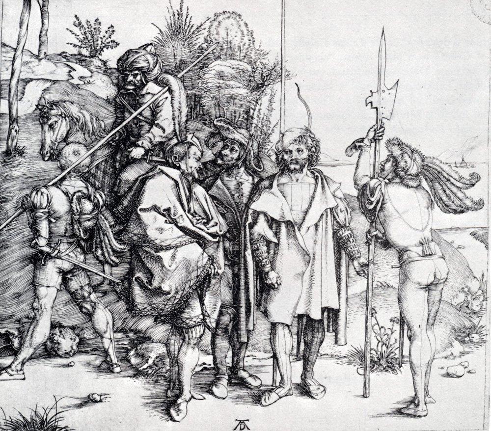 Five Lansquenets And An Oriental On Horseback, 1495 #northernrenaissance #albrechtdurer