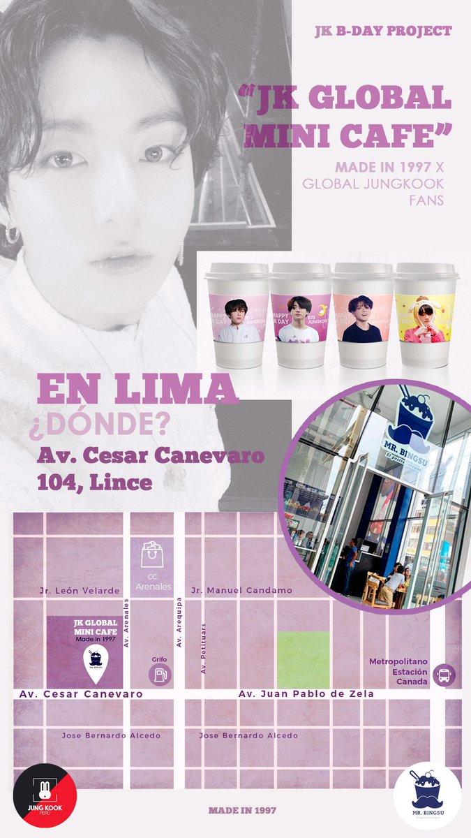 ☕ JK GLOBAL MINI CAFE in Lima, Peru 🇵🇪 @BTS_twt #정국 Gracias a @madein1997_jk se realizará este evento global por el cumpleaños de Jungkook en nuestra capital, el sábado 31 de agosto ♡ ❗Leer la información e indicaciones con atención 😊 ❗Las imágenes son referenciales.