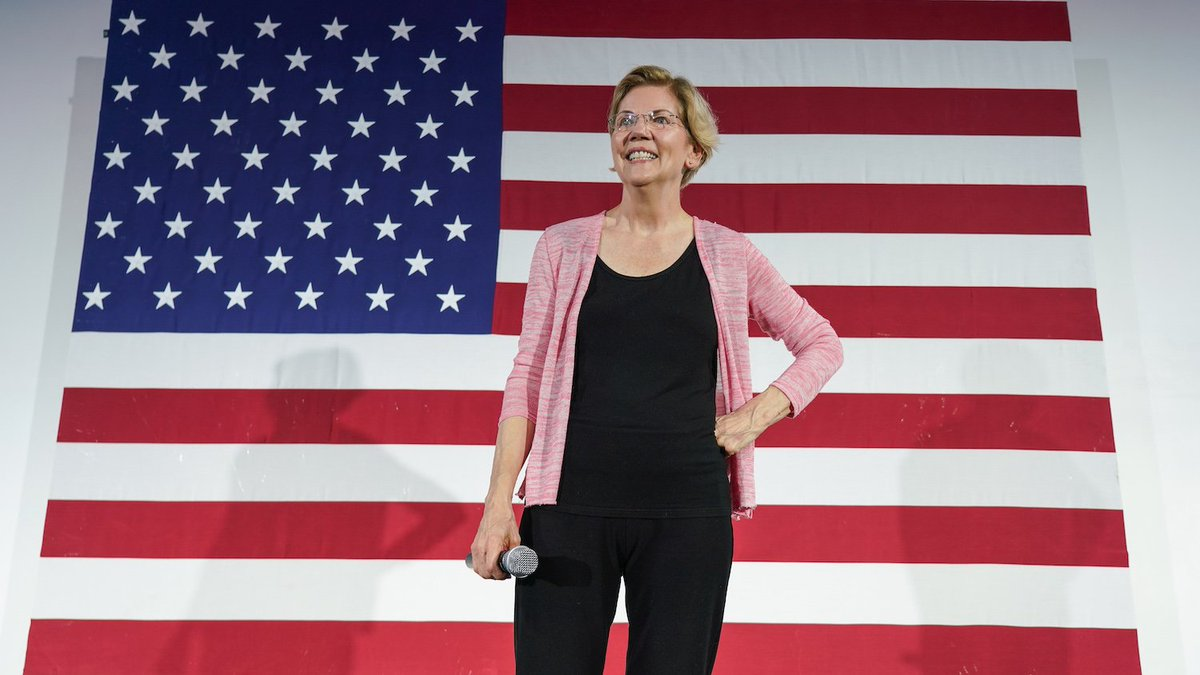 Elizabeth Warren in front of United States flag.