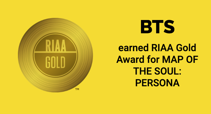 'Map of the Soul: Persona' has been certified GOLD (500k+ units) in the US!  #MPN #BTS #ARMY @BTS_twt<br>http://pic.twitter.com/3w3hpKOaFW