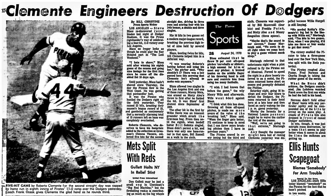 """1970: Roberto Clemente had his second straight five-hit game against LA, the first major leaguer this century to total 10 hits in consecutive games. Per BR Bullpen, skipper Danny Murtaugh whistled & said: """"Ten hits in two games! When I was playing, that was my quota for a month."""""""