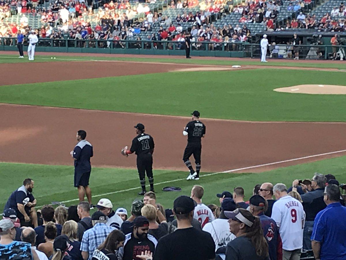 "Tribe donning ""Players' Night"" black uniforms tonight vs. Royals."