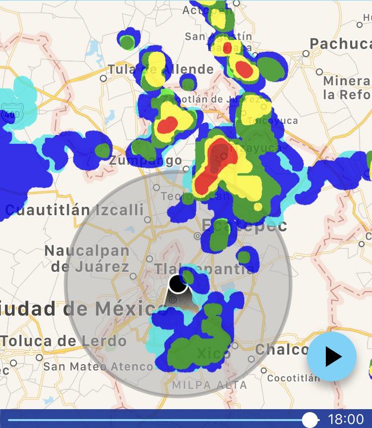 Tormenta al norte de EdoMx y sur de Hgo radar 6:00pm