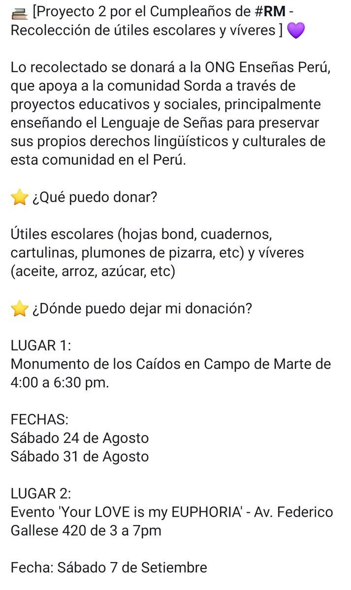 📚Proyecto 2 por el cumpleaños de #RM — Recolección de útiles escolares y víveres Serán donados a Enseñas Perú que, entre sus distintos proyectos educativos, brinda clases de Lenguaje de Señas para la comunidad Sorda del Perú. Contamos con su apoyo, ARMYs. @BTS_twt #BTS 💜