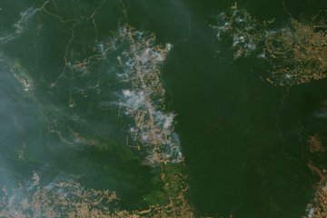 Natural color satellite image of smoke over the green rainforest