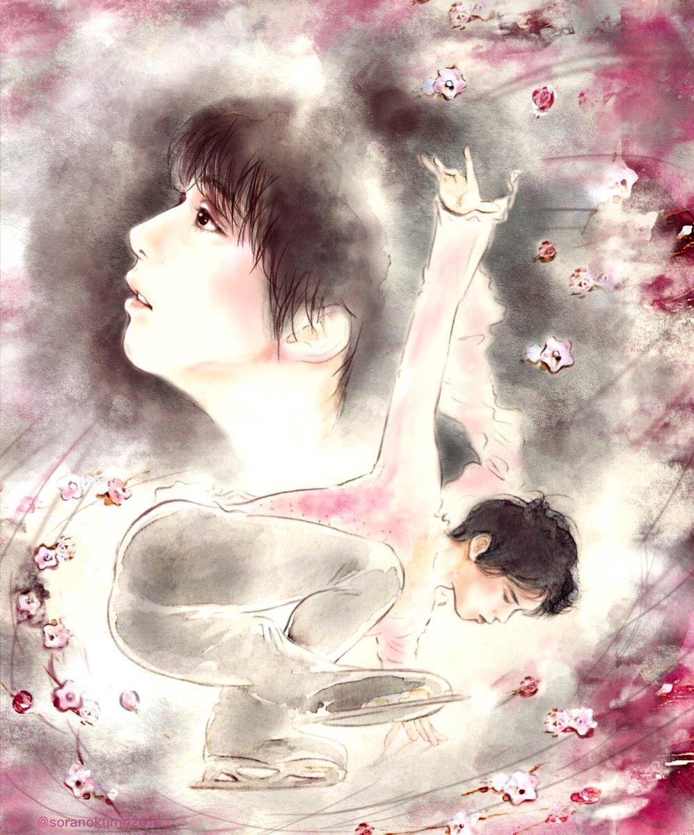素敵なアクセを作るまほちゃん @yztsuya とコラボ✨私の持つ「春よ、来い」のイメージを見事にラリエットで表現してくれたので、そこからまた絵のイメージが湧きました🌸ブログにまとめました↓#羽生結弦  #YuzuruHanyu #春よ来い #24時間テレビ