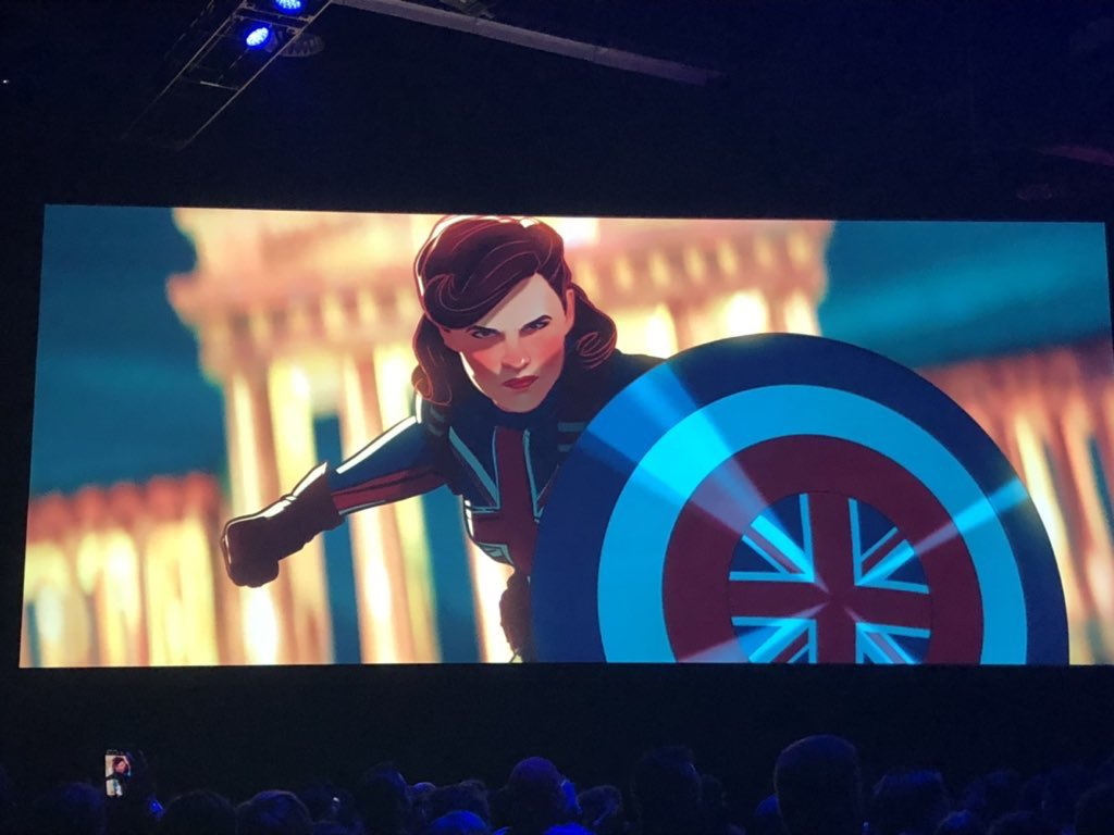 Here is the first look at Peggy Carter as Captain Britain in 'WHAT IF...?' #D23 #D23Expo