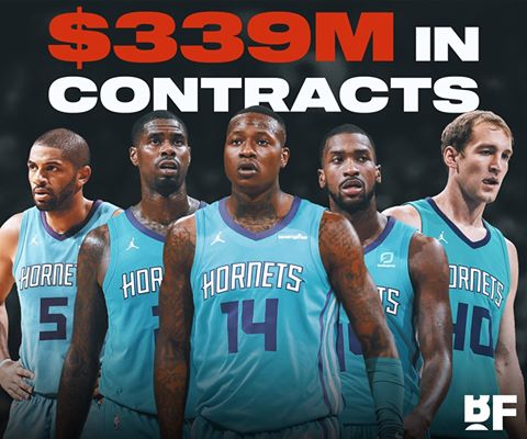 Over the past 4 years, the Hornets have signed Michael Kidd-Gilchrist , Nicolas Batum , Cody Zeller, Marvin Williams and Terry Rozier to a combined $339M in contracts. -#ADOMOSBASKETBALL. https://t.co/fulAXQbLoV