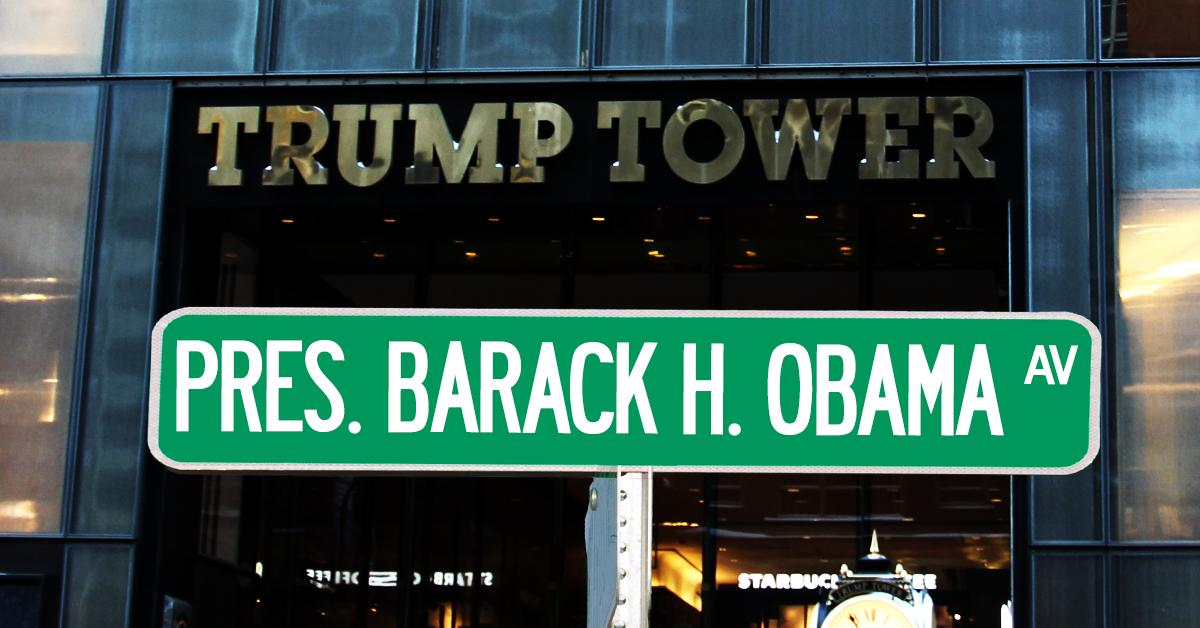 "Hey @StephenAtHome, how about a show on the new ""President Barack H. Obama Avenue""?  https://petitions.moveon.org/sign/rename-fifth-avenue-in?source=n.tw.p …  You could invite your friends #JonStewart, @Trevornoah, @iamjohnoliver, @jimmykimmel, @billmaher, and as opposed to @realDonaldTrump, I'm sure you have other friends! pic.twitter.com/yk0DwLQqMT"