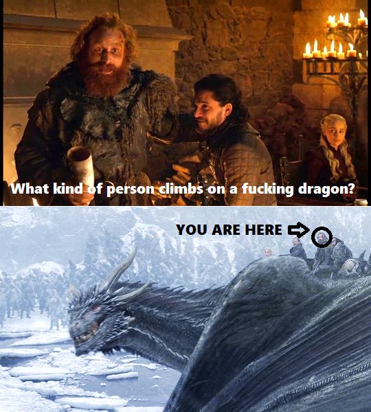 Tormund Kinda Forgot He Climbed on a Dragon #gameofthrones
