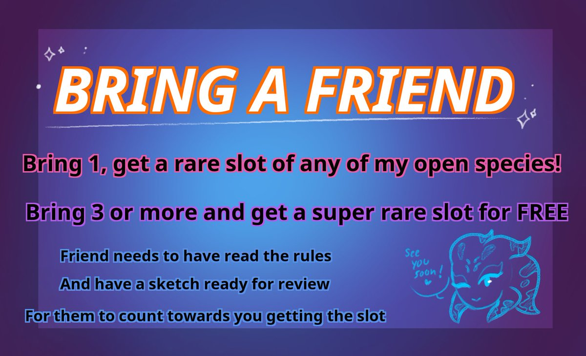 So a few people wanted a way to get rare or super rare slots for my open species, so I made a way!! Any questions comment below!!! ((To participate you already must have an oc of one of my species))