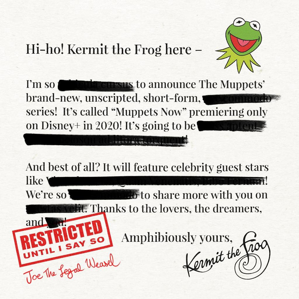 Kermit has prepared a letter to annnounce 'MUPPETS NOW' for Disney+. #D23 #D23Expo