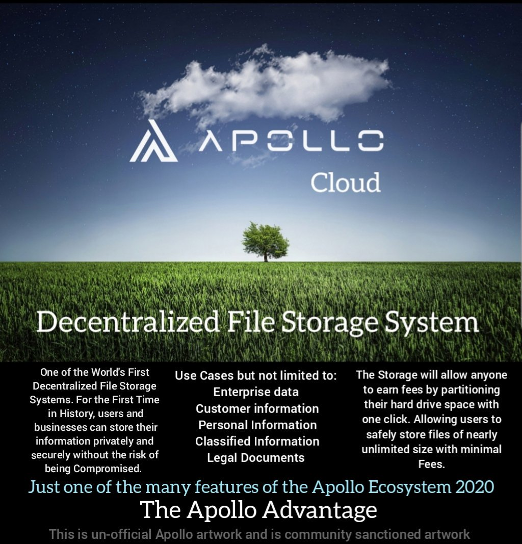 THE APOLLO CLOUD   A DECENTRALIZED FILE STORAGE SYSTEM.  JUST THINK OF THE ALL THE POSSIBILITIES FROM PERSONAL TO ENTERPRISES.   THE MOST FEATURE RICH CYRPTO  USE CASES ARE   #APOLLOCURRENCY #CRYPTO #BITCOIN #ETH #XRP #BLOCKCHAIN #TECH #INVESTORS #ETN #privacy #business<br>http://pic.twitter.com/LmdroR4VBc