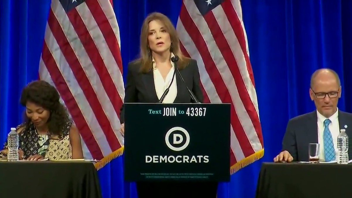 Democratic presidential candidate @marwilliamson speaks at the DNC Summer Meeting in San Francisco, California.