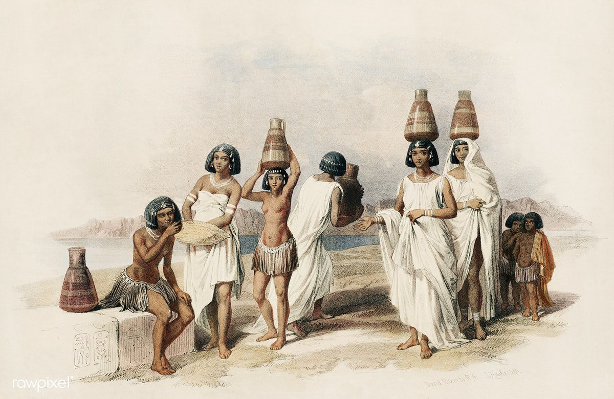 Nubian women at Kortie on the Nile illustration by David Roberts (1796–1864). Original from The New York Public Library. Digitally enhanced by rawpixel. Download this image: https://t.co/HTysMnkJaj https://t.co/WofcdxedW4