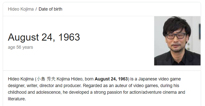 Happy birthday, Hideo Kojima!
