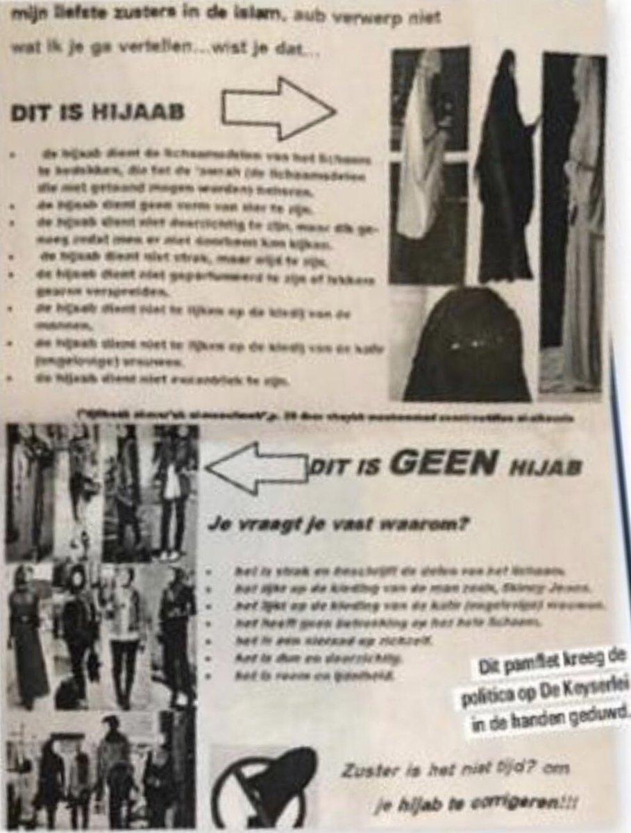 test Twitter Media - Zover zijn we al: vrouwen met Marokkaanse roots die zich te westers kleden krijgen in #Antwerpen op straat pamfletten in de handen geduwd 'om nt de hoofddoek maar de hijab te dragen en zich volledig te bedekken met wijde nt doorzichtige stof.' Islampolitie in actie... #BanIslam https://t.co/UIL4T9B3vr