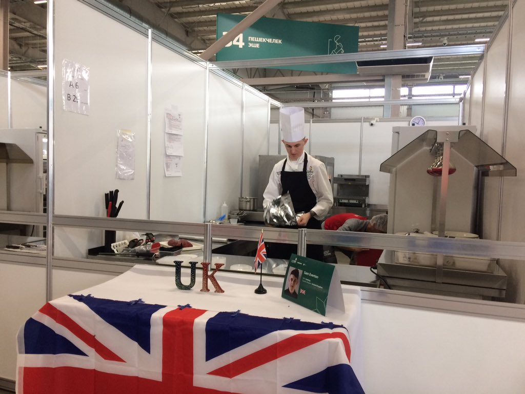 Day two of @WorldSkillsKZN and #TeamUK competitor Sam Everton is already cooking up a medal-winning performance. Later on, we'll be taking part in the restaurant service competition, so keep an eye on @FEWeek to find out how we got on. 🍽
