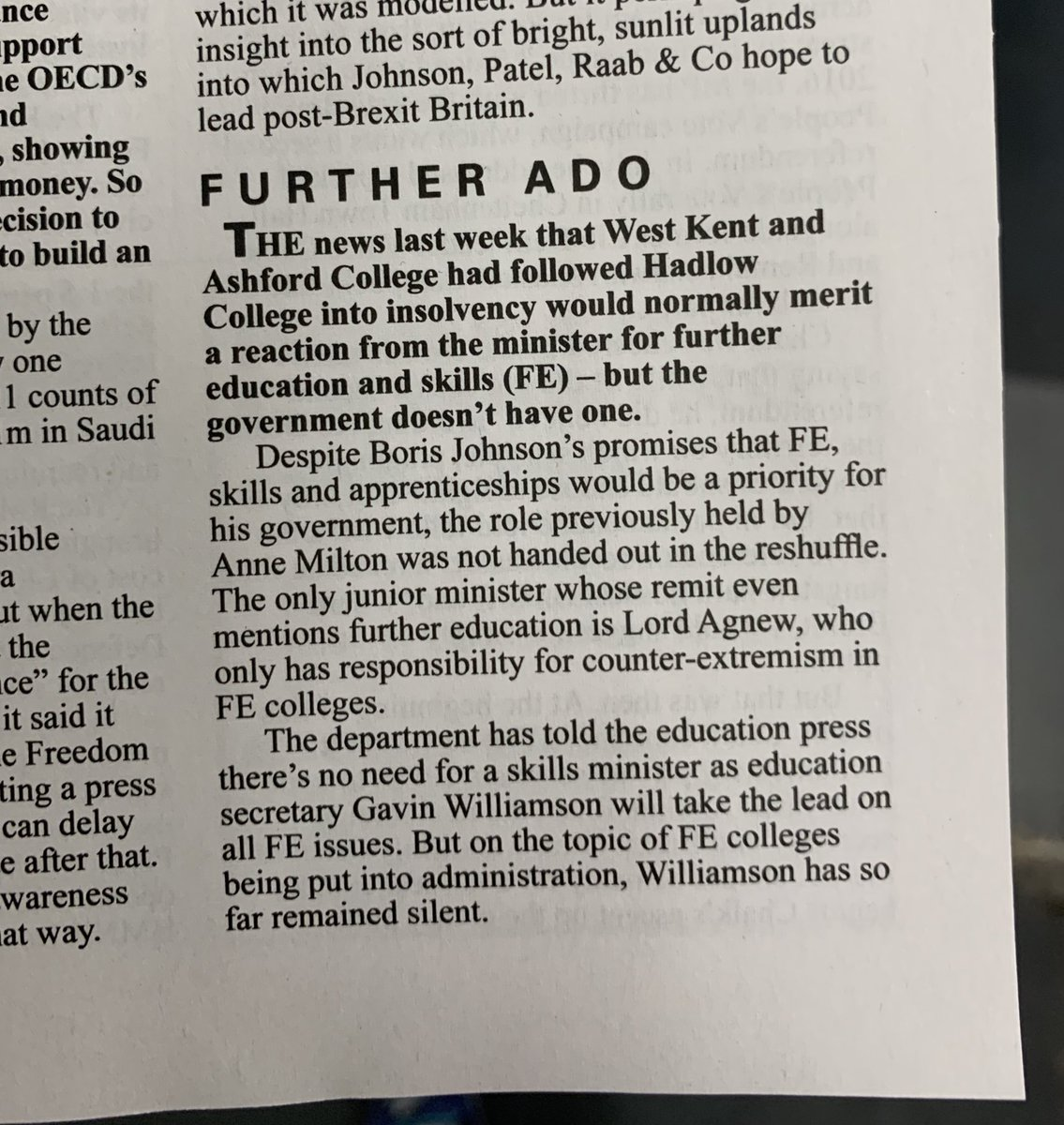 I agree with Private Eye. Lack of an FE minister ain't a good thing
