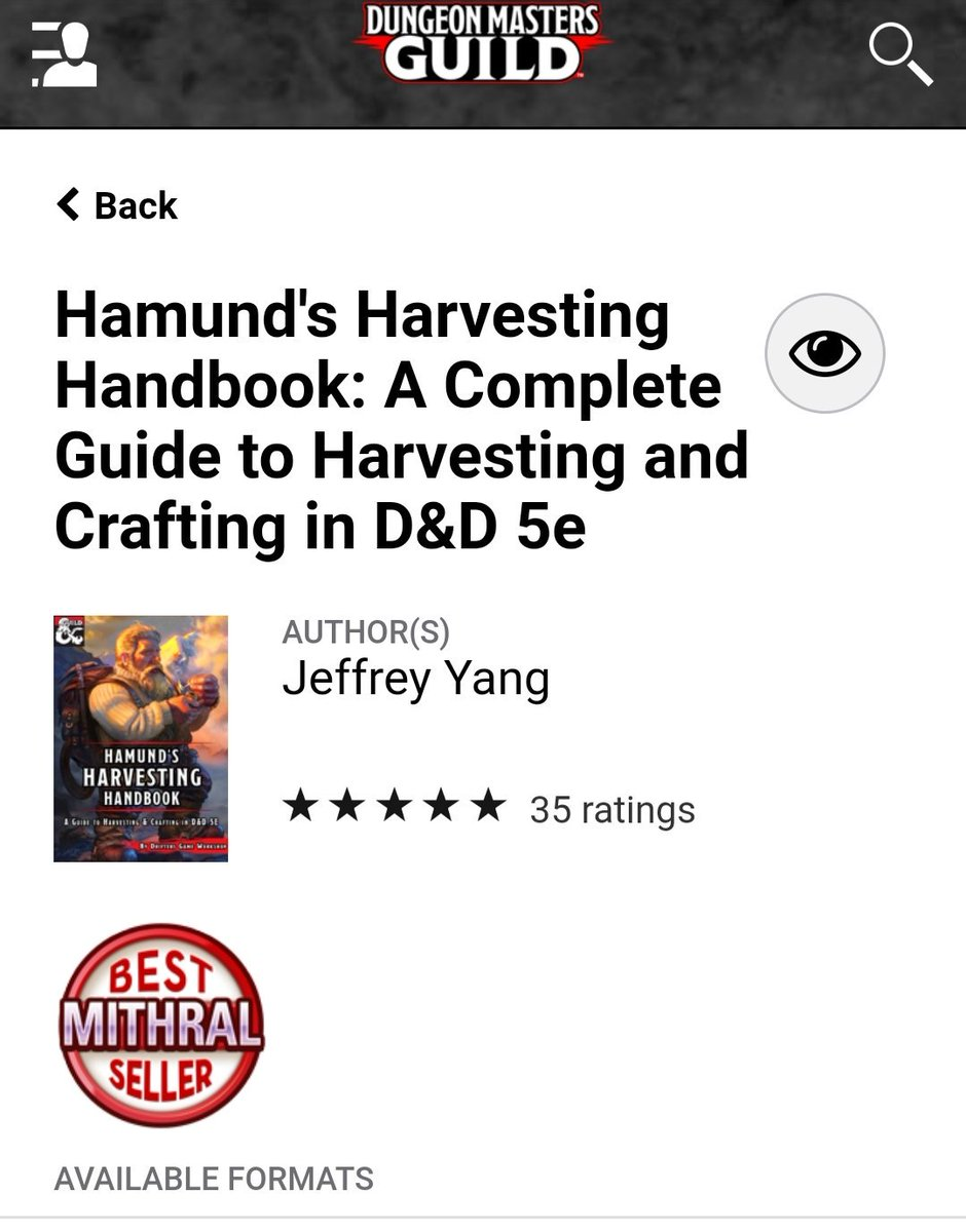 I can't believe it! Hamund's Harvesting Handbook is certified MITHRAL on the #DMsGuild  Thank you so much to everyone who bought a copy, and make sure to follow, because Volume 2 is coming soon. To celebrate this news and the impending release, we have a giveaway (deets below)<br>http://pic.twitter.com/8SgEaVPdlA