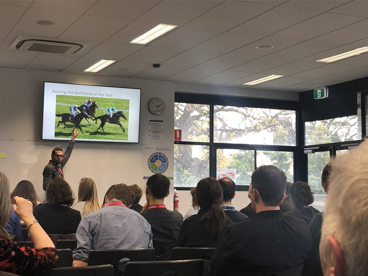 The highly entertaining @Smithre5 exploring how teachers select strategies to attack problems of practice. The big question - how do we back the best horse? #gluefactory #rEDMelb2019