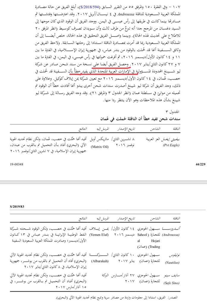 اقرأ أيضا تهريب الوقود من إيران إلى الحوثيين بتزوير وثائق في الامارات على أنه تم تعبئتها في عمان هذا النص من تقرير لجنة الخبراء في الأمم المتحدة المقدم الى مجلس الأمن في 25 يناير 2019.