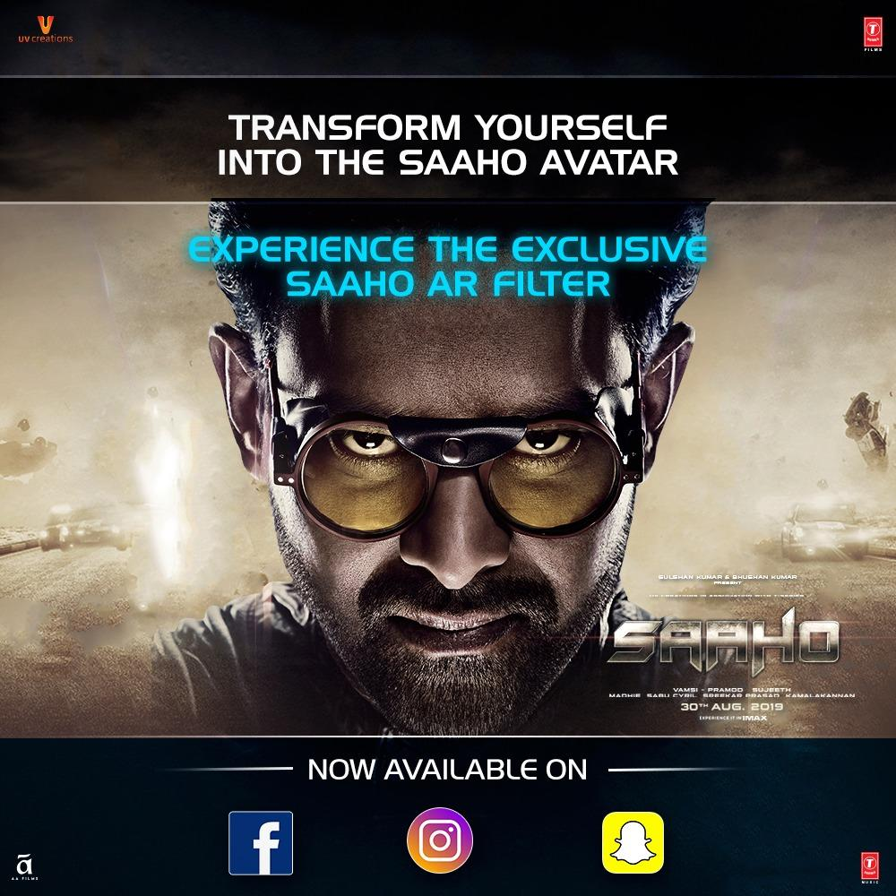 It's time to transform yourself into the #SaahoAvatar!   Check out our exclusive #Saaho  filter available across your favourite social media platforms!   Facebook :  http:// bit.ly/SaahoFacebook     Instagram :  http:// bit.ly/SaahoInstagram     Snapchat :  http:// bit.ly/SaahoSnapchat    <br>http://pic.twitter.com/Zh5oVQnhV2