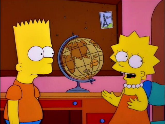 """""""Mm-Hmm. In fact, in Rand McNally they wear hats on their feet and hamburgers eat people."""""""